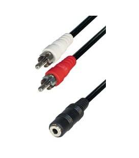 Cable 2rca m - jack h 3,5 estereo 0,2m E-A38-0,2