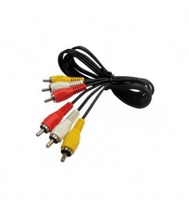 Cable 3 x RCA macho a 3 x RCA macho, 3 metros. E-V12-3