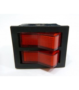 Interruptor luminoso rojo 2 pulsadores 6 faston 14AG007